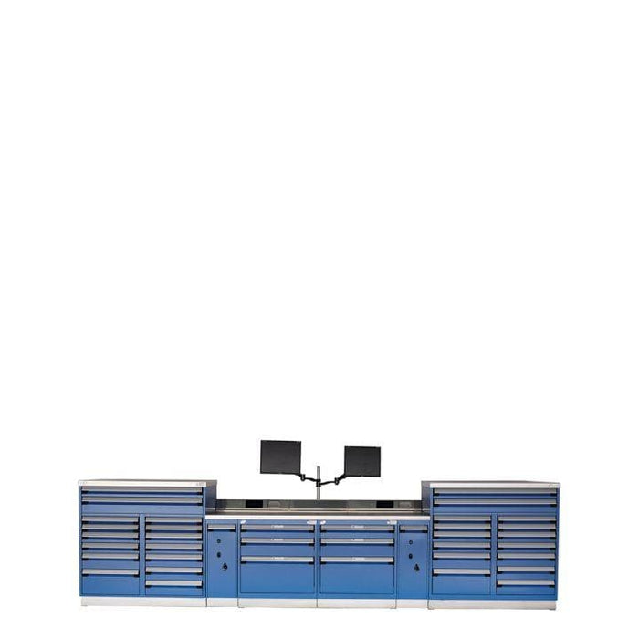 "Rousseau Technician Workstation Double 132"" wide with Stainless Top"