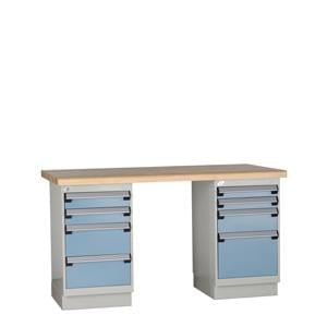 Rousseau Metal Workbench with Wood Top and Two Blue Drawer Cabinets