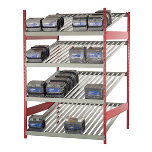Rousseau metal battery rack with 4 levels and 17 batteries on them