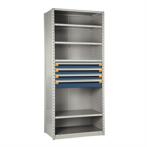 rousseau metal drawers in shelves unit