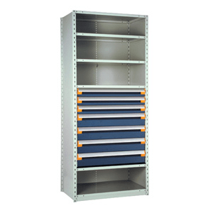 Rousseau Metal Drawers in shelving unit