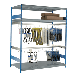 "Hanging Rack 96""W x 36""D x 87""H, 2 Level, 2 Rail, 30 hooks, Adder Unit"