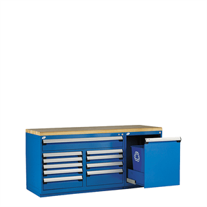 Blue Parts Department Counter with with wood top drawers and trashcan