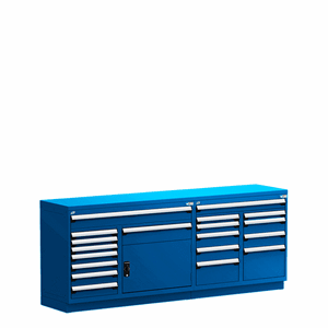 Blue Service Counter for parts department with painted top