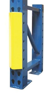 Steel King Snap-guard column protector yellow on blue rack