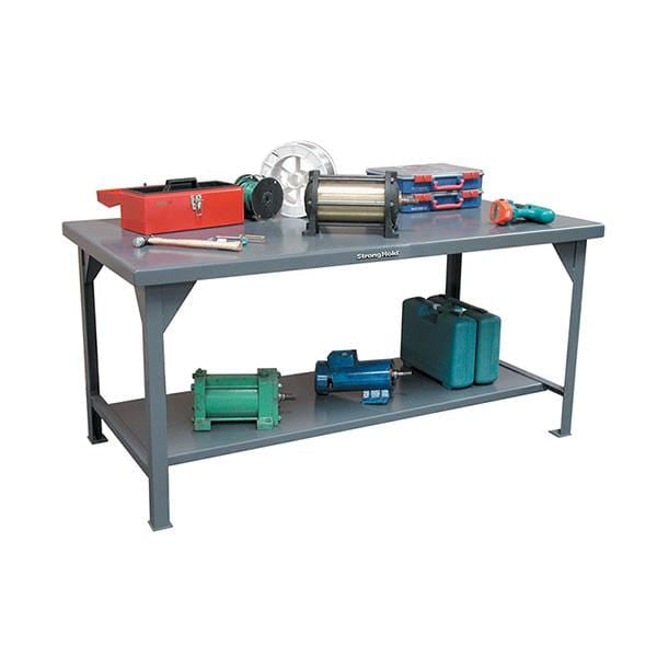 Strong Hold Industrial Shop Table with Bottom Shelf