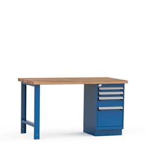 Rousseau Workbench with Drawers and Wood Top