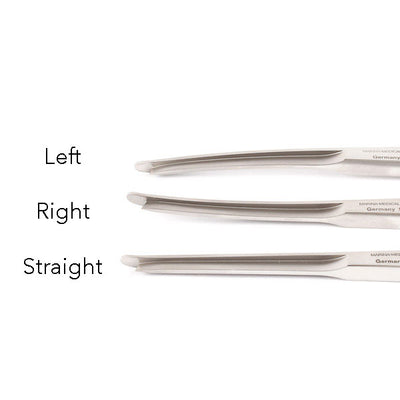 The Silver Osteotome by Marina Medical are a rhinoplasty instrument, 18cm and available in three different curvatures - straight, right curved and left curved | Precise Medical
