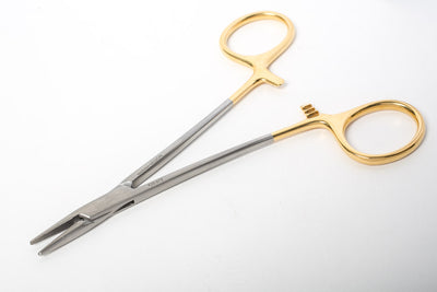 Halsey Needle Holder by Marina Medical is 13cm long and serrated for suture 4/0 and 6/0. German tungsten carbide inserts precisely and securely grip the needle. Now available for purchase at Precise Medical
