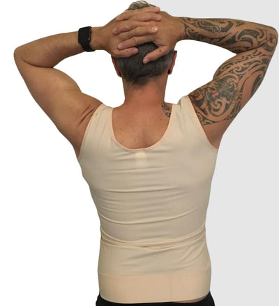 This Stage 1 Male Compression Vest is ideal for post gynecomastia, made with front zipper AND padded hook & eye closures and adjustable Velcro Shoulder Straps you may be assured of a perfect firm fit post surgery | Precise Medical