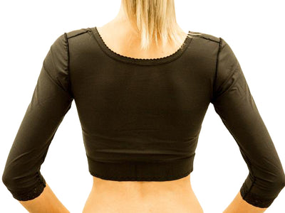 An essential garment for post liposuction for the back and general upper torso. The Bolero with sleeves to below the elbow has three rows of Hook & Eye fastenings at the front for perfect firm fit. Available in black | Precise Medical