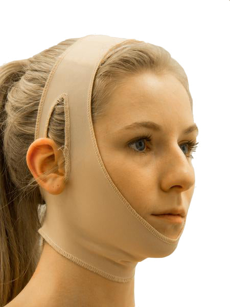 This chin strap with open ear is simple to fit with Velcro attachments on the top of the head and base of the neck. One Size Fits All | Precise Medical