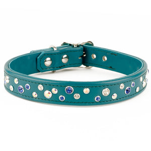 Handmade Leather Swarovski Crystal Dog Collars & Leads