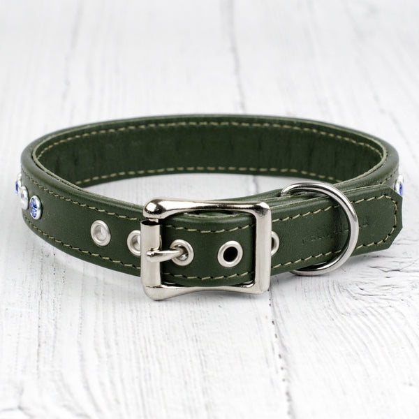 Straight Flush Swarovski Crystal Leather Dog Collar