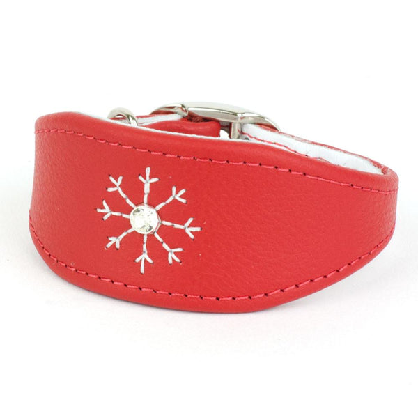 Crystal Snowflake Leather Italian Greyhound Collar