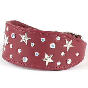 Starry Night Crystal Greyhound & Lurcher Leather Collar