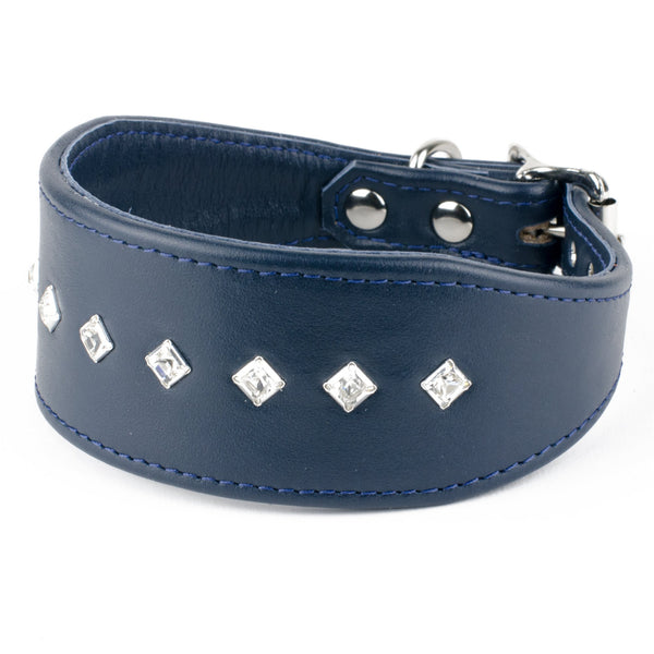 Diamond Flush Leather Whippet Collar