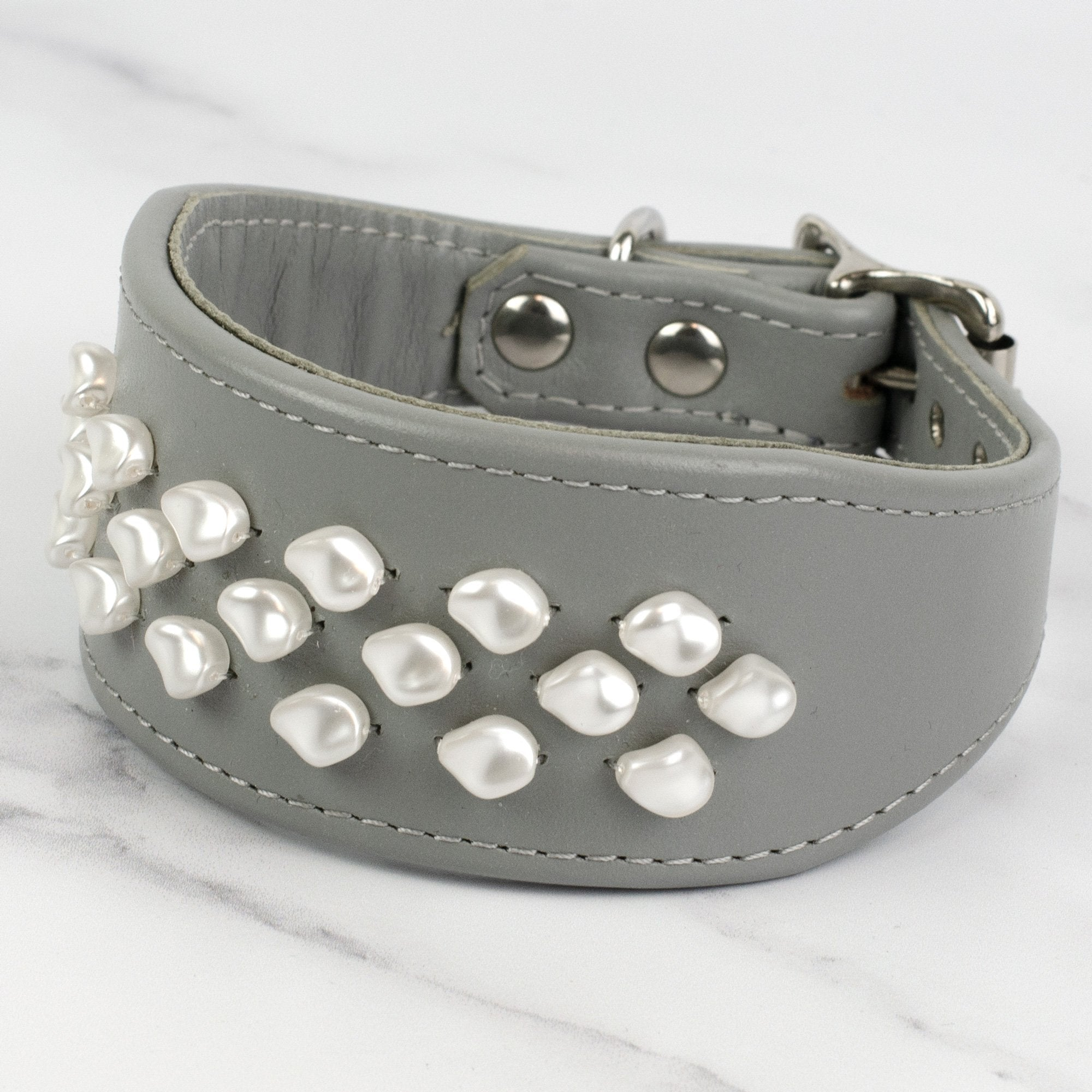 Hepburn Swarovski Pearl Leather Whippet Collar