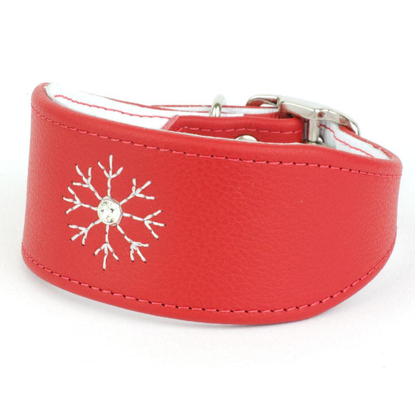 Crystal Snowflake Leather Whippet Collar