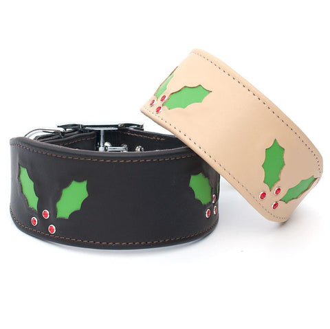 Deck the Halls Leather Greyhound & Lurcher Collar