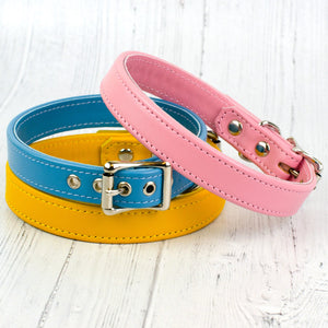 Italian Leather Dog Collar Available in a choice of 24 colours!