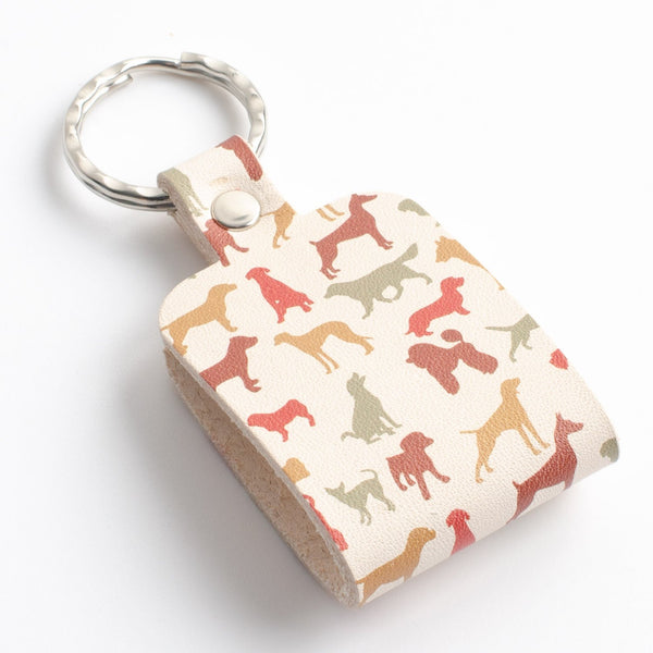 Dog Print Leather Key Ring