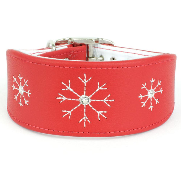 Crystal Snowflake Greyhound & Lurcher Leather Collar