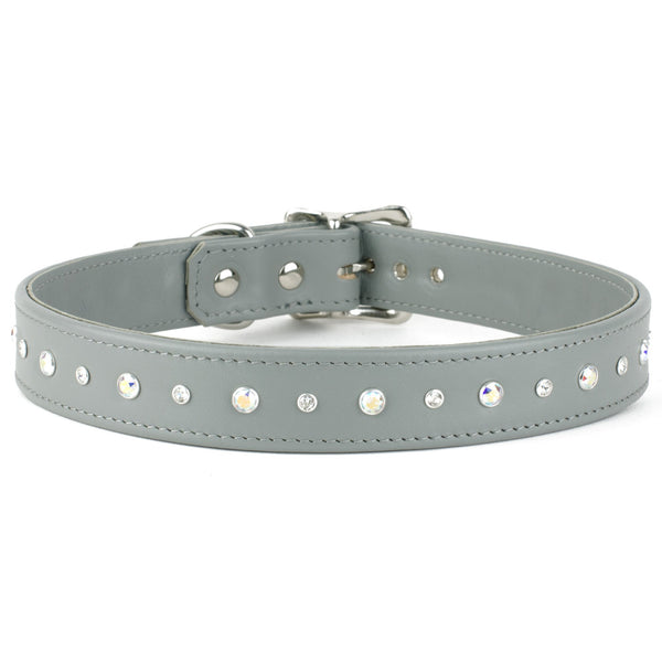 Combo Swarovski Crystal Leather Dog Collar
