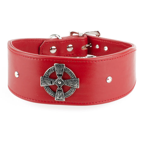 Crystal Celt Leather Greyhound Collar