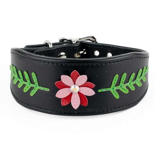 Summer Flower Leather Whippet Collar