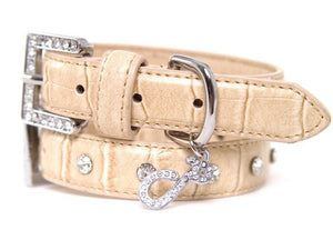 Cream of the Croc Leather Dog Collar