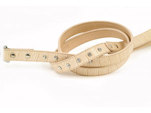 Cream of the Croc Leather Dog Lead