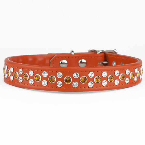 Domino Swarovski Crystal Leather Dog Collar