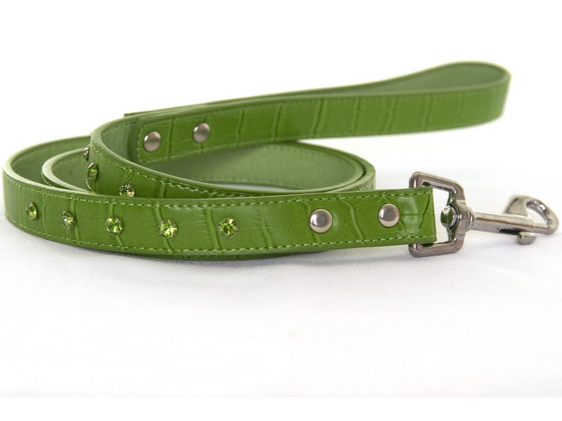 Crocodile Rocks Green Leather Dog Lead
