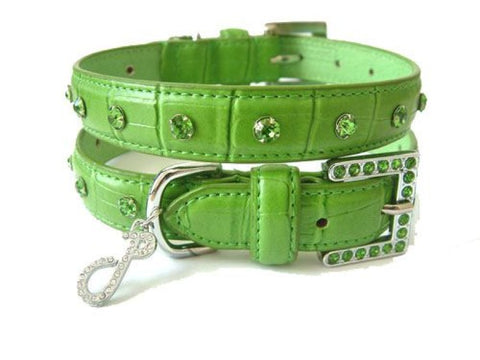 Crocodile Rocks Green Leather Dog Collar