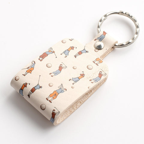Golf Print Folded Leather Keyring