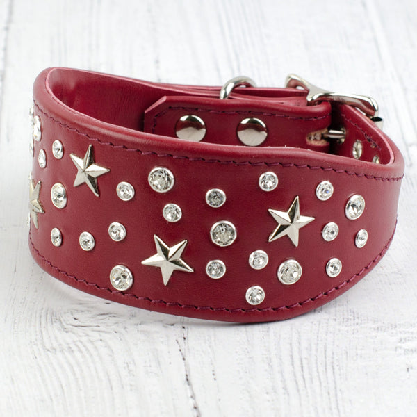 Starry Night Swarovski Crystal Italian Greyhound Leather Collar
