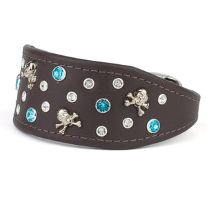 Jolly Roger Italian Greyhound Crystal Leather Collar