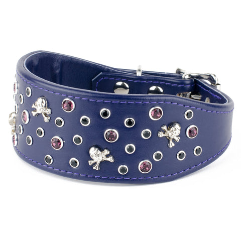 Jolly Roger Swarovski Crystal Leather Greyhound & Lurcher Collar