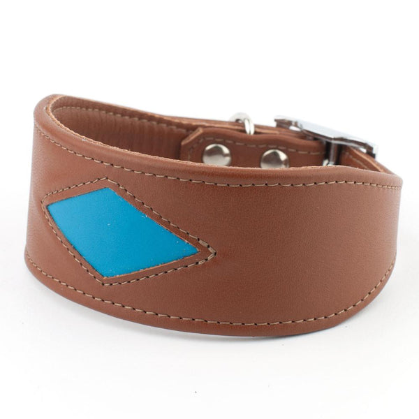 Geometric Italian Greyhound Leather Collar