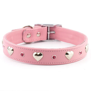 I Heart Swarovski Crystal Leather Dog Collar