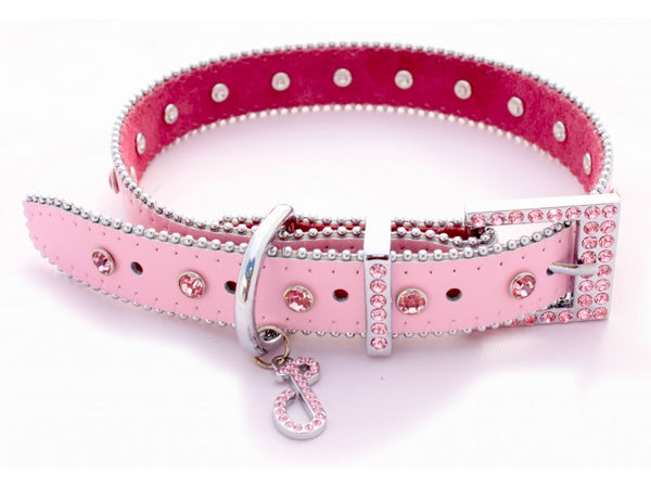 Monte Carlo Pink Leather Dog Collar
