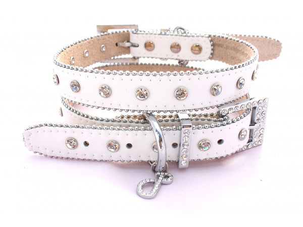 Monte Carlo Arctic White Leather Dog Collar
