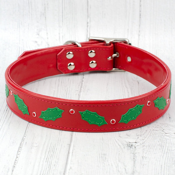 Berry Merry Christmas leather designer dog collar