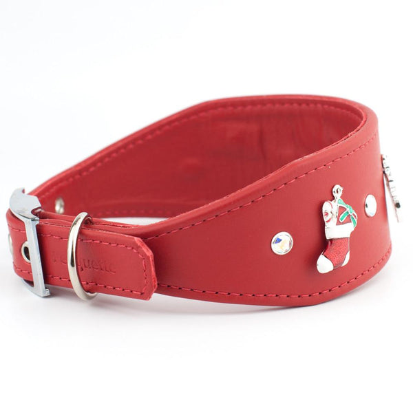 Charmed Christmas Swarovski Crystal Designer Leather Dog Collar