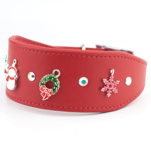 Charmed Christmas Swarovski Crystal Greyhound & Lurcher Designer Leather Dog Collar