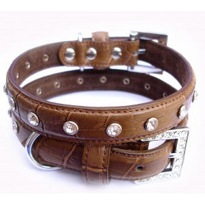Choc Croc Designer Leather Dog Collar