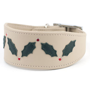 Christmas Garland Leather Greyhound & Lurcher Collar