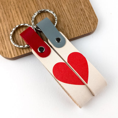 His and Hers Personalised Love Heart Keyring