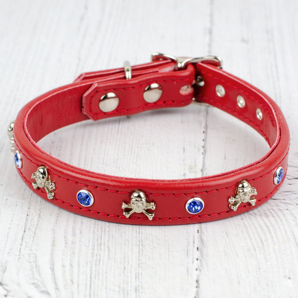 Ahoy There Swarovski Crystal Red Leather Dog Collar